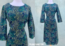 Load image into Gallery viewer, Vintage 1960s Green And Black Print Dress