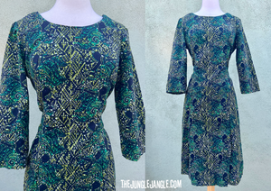 Vintage 1960s Green And Black Print Dress