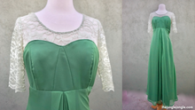 Load image into Gallery viewer, Vintage 1960s Green Maxi Formal Dress With Lace Detail