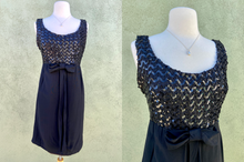 Load image into Gallery viewer, Vintage 1960s Little Black Dress With Sequin And Bow Detail