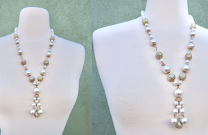 Vintage 1960s Faux Pearl Long Statement Necklace With Beading Detail