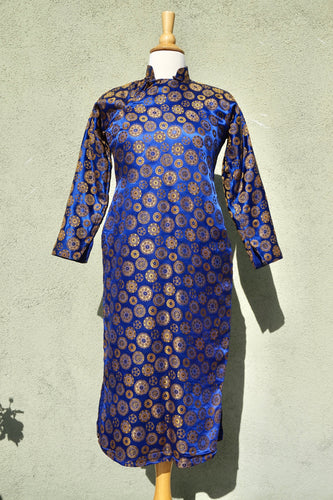 Vintage Early Century Cheongsam Silk Dress In Blue & Gold