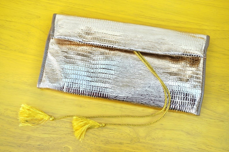 Vintage 1960s Gold Foil Clutch Wallet With Many Pockets And Sections
