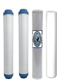 "4 PC Replacement Water Filters - 1 Sediment,1 Carbon Block, 2 DI Filters 20"" x 2.5"" - Titan Water Pro"