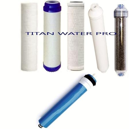 REVERSE OSMOSIS RO/DI 6 FILTERS/MEMBRANE REPLACEMENT 6 PC Set - 100 GPD Membrane - Titan Water Pro
