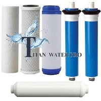 "REVERSE OSMOSIS RO 6 FILTERS/MEMBRANE REPLACEMENT SET 300 GPD MEMBRANE Post Carbon 12"" x 2.5"" - Titan Water Pro"