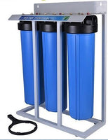 "Whole House Filter (3) Big Blue 20""x4.5"" 1""PR Sediment~KDF85/GAC~Carbon - Stand Mounted - Titan Water Pro"