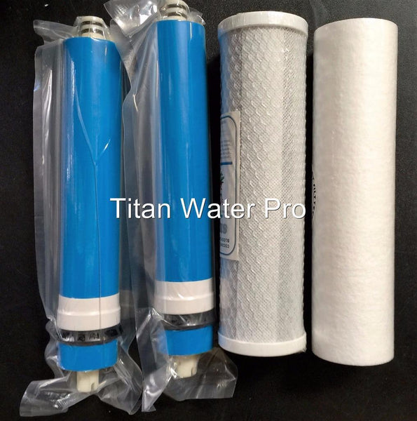 Water Filter/Membrane Replacement Set for our 4 Stage System Sediment/Carbon ~ 2 x 150 GPD Membrane - Titan Water Pro