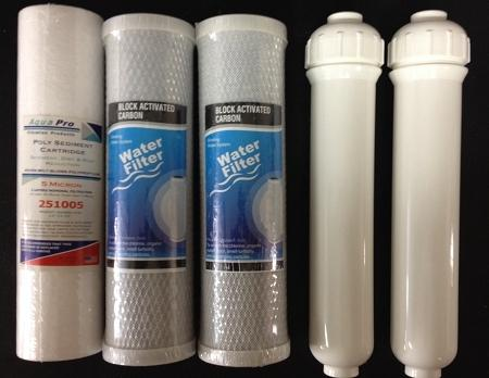 Replacement Filter 5 pc Set for (fits 6 stage Aquarium RO) - Titan Water Pro