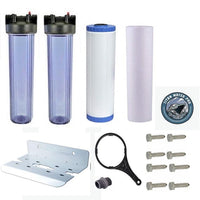 Whole House Big Blue Water Filter System - Sediment & KDF85/GAC Filter - Clear Housing - Titan Water Pro