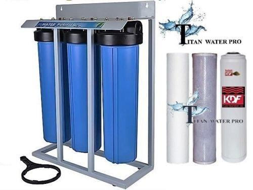"Whole House Filter (3) Big Blue 20""x4.5"" 1""PR Sediment~KDF55-85/GAC,Catalytic Carbon/Bone Char Mounted on Stand - Titan Water Pro"