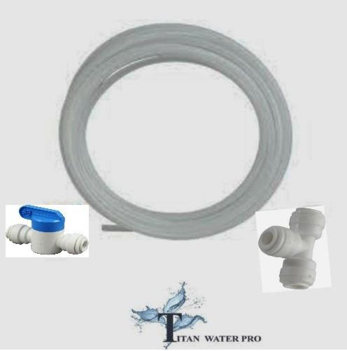 "Refrigerator RO Connection Kit 1/4"" OD Tubing, Union T, Inline Ball Valve - Titan Water Pro"