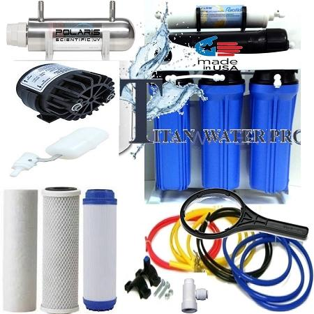 RO Reverse Osmosis Water Filter System 100 GPD-Booster Pump/UV/Permeate Pump - Titan Water Pro