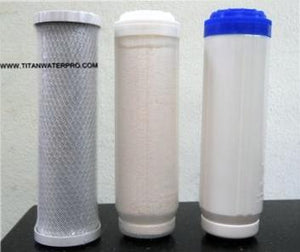 Carbon Block/Flouride Activated Alumina/KDF Multi media Water Filters (3 PC) Set - Titan Water Pro