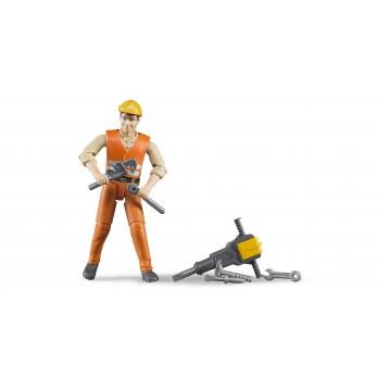 Bruder 60020 Figure Construction Worker W/accessories