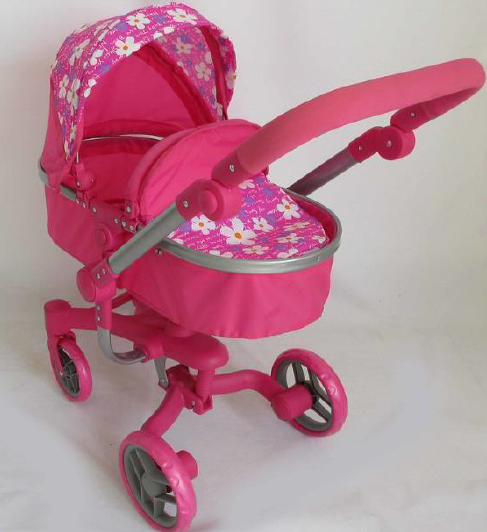 Playworld Deluxe 2 in 1 Doll Pram Pink with Flowers