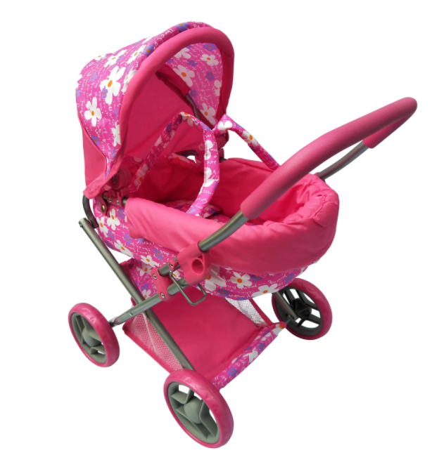 Playworld Medium Dolls Pram Pink with Flowers
