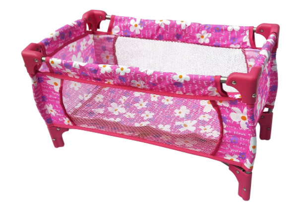Playworld Pink with Flowers Dolls Travel Cot