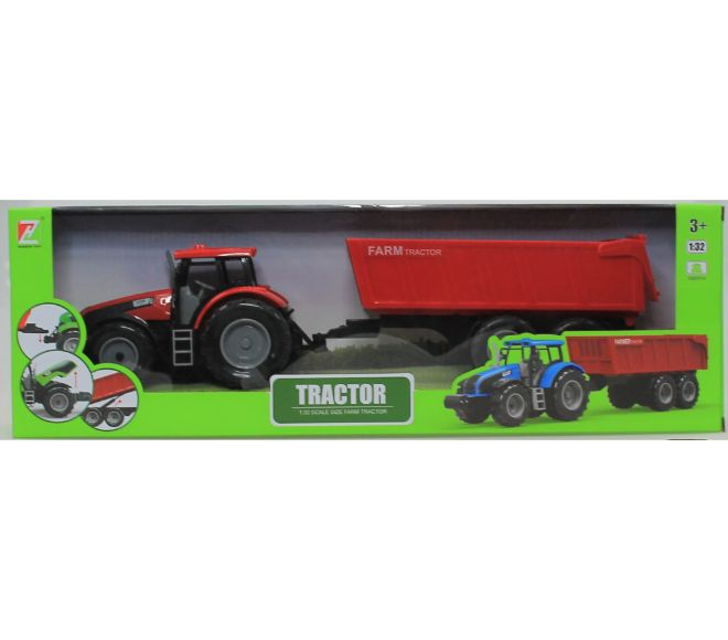 plastic tractor with tipper trailer asst