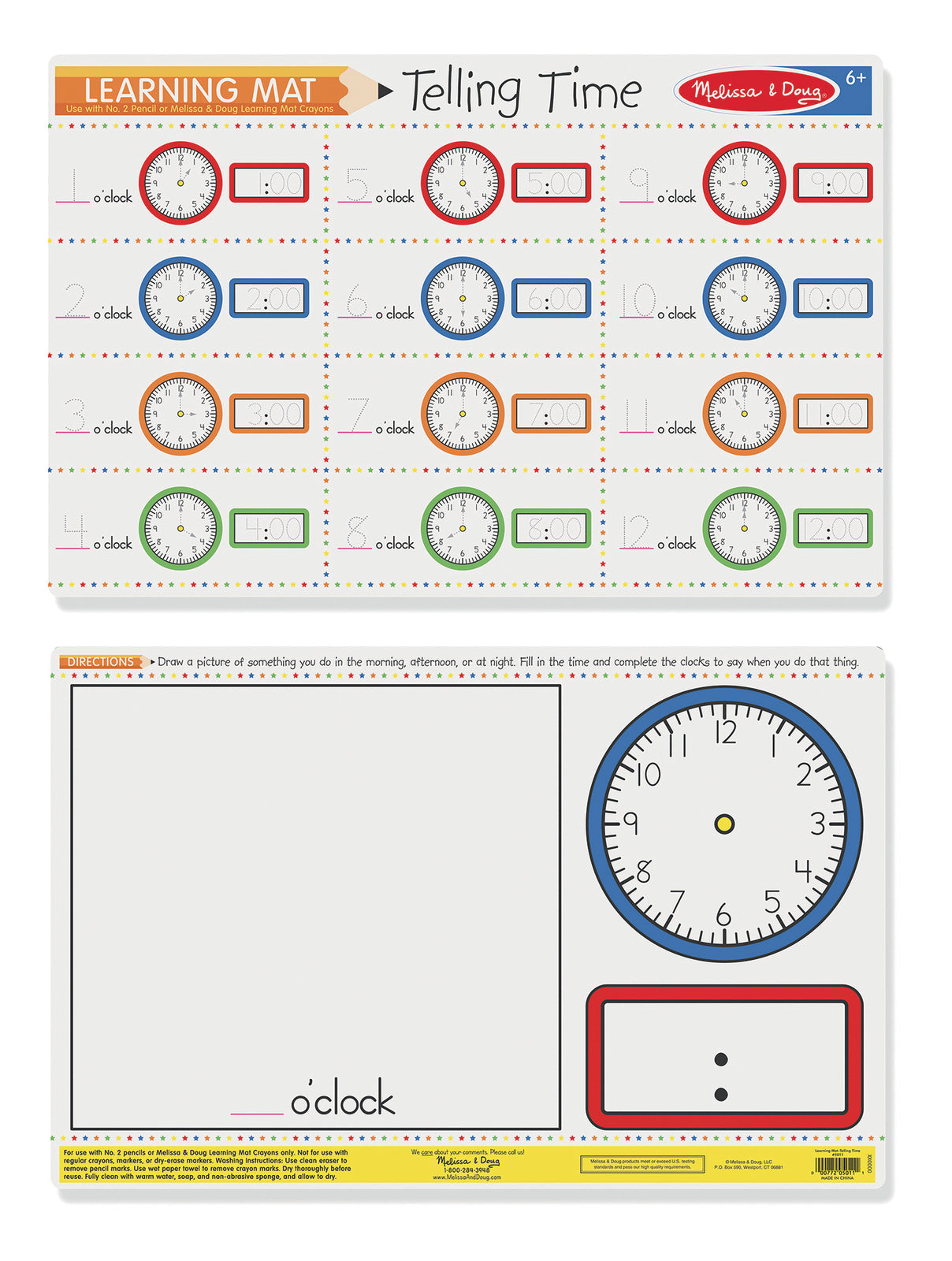 M&D Learning Mat Telling Time