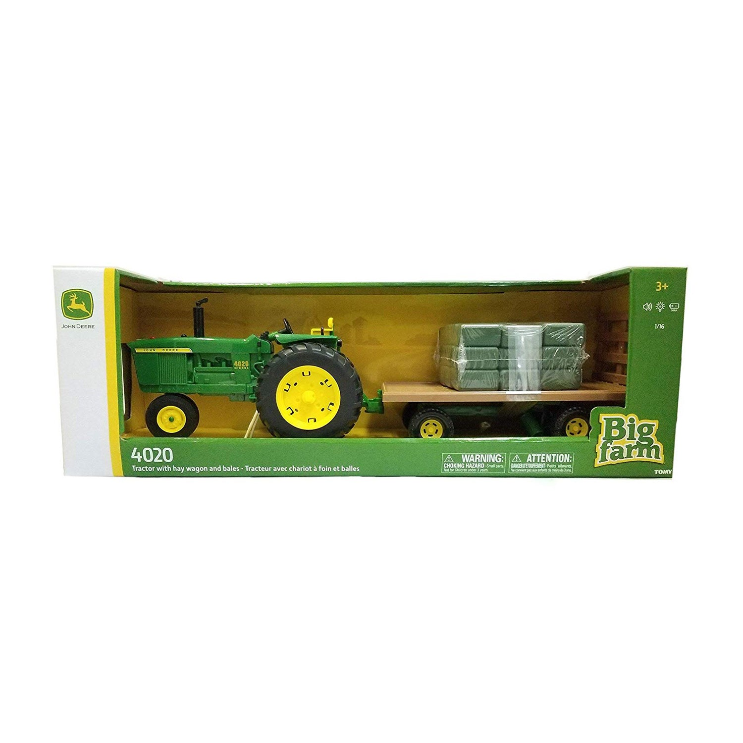 Big Farm John Deere Tractor with Wagon & Hay Bales