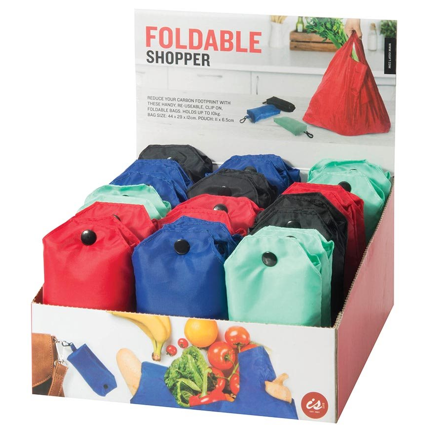 Foldable Re-Usable Shopper Bag asst colours