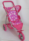 Playworld Pink with Flowers 3 Wheel Jogger Stroller