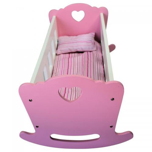 Sally Fay Wooden Dolls Cradle + Pillow & Quilt
