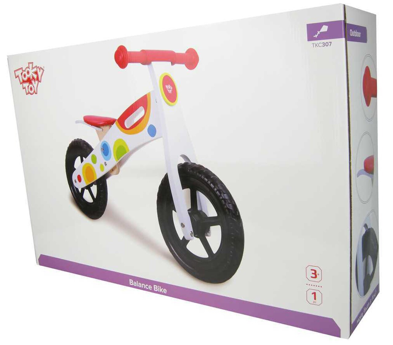 Tooky Toy Wooden Balance Bike White