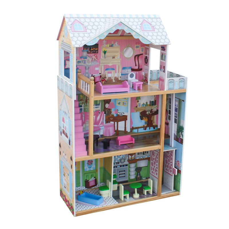 Wooden Doll House & Furniture 4 Level with Elevator