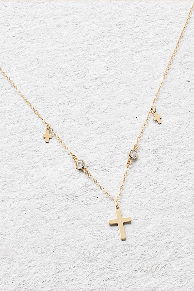 Hanging Crosses Choker Necklace