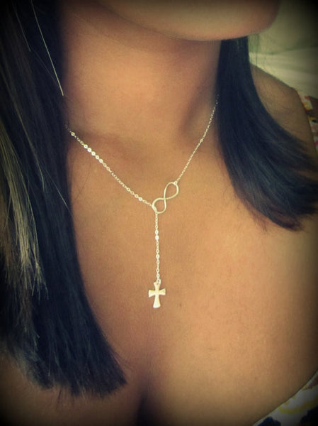 The Original Cross and Infinity Lariat / Gold / Silver / Flared Cross / Classic Cross /