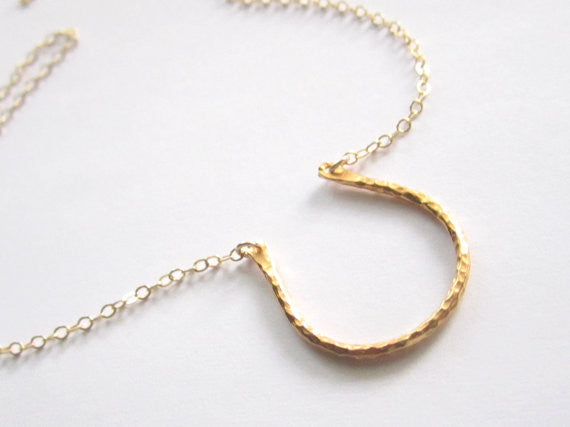 Hammered Horseshoe Necklace / Sterling Silver / Gold /