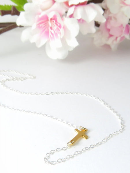 Mini Sideways Cross Necklace / Sterling Silver / 14k Gold Fill / Mixed Metals / Centered / Offset