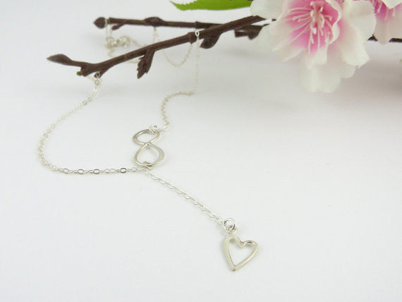 Heart & Infinity Lariat Necklace / Sterling Silver /