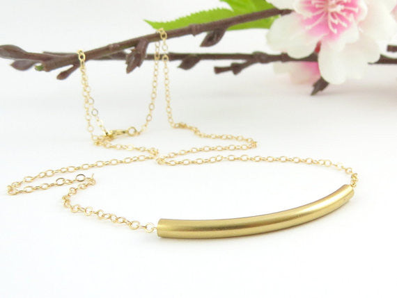 Tube Necklace / 14k Gold Fill / Sterling Silver