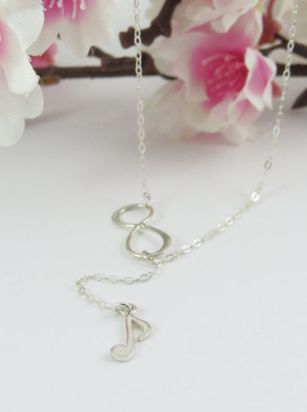 Music Note & Infinity Lariat Necklace / Sterling Silver /