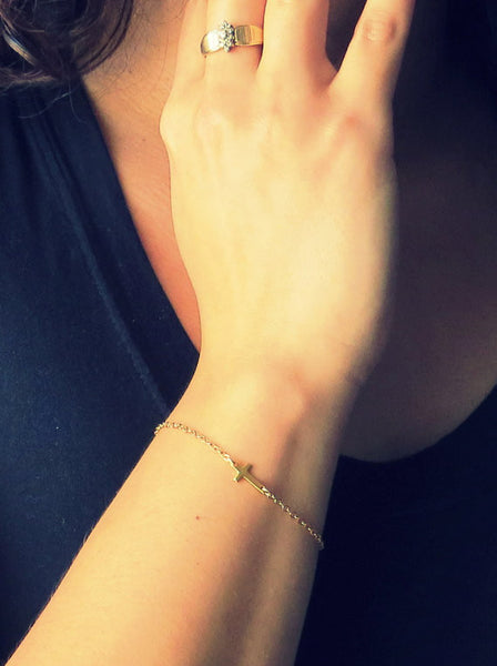 Sideways Cross Bracelet / Gold / Silver /