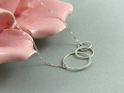 Three Ring Eternity Necklace / Gold / Silver /