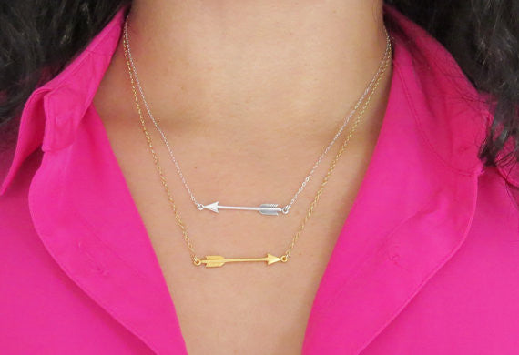 Sideways Arrow Necklace / Silver / Gold /