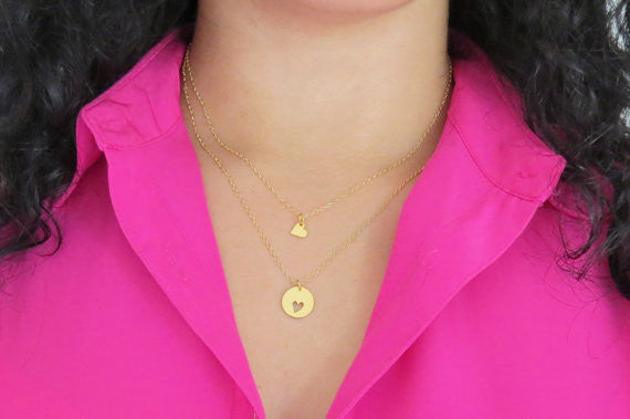 Heart & Cutout Necklace Set / Sterling Silver / Gold /