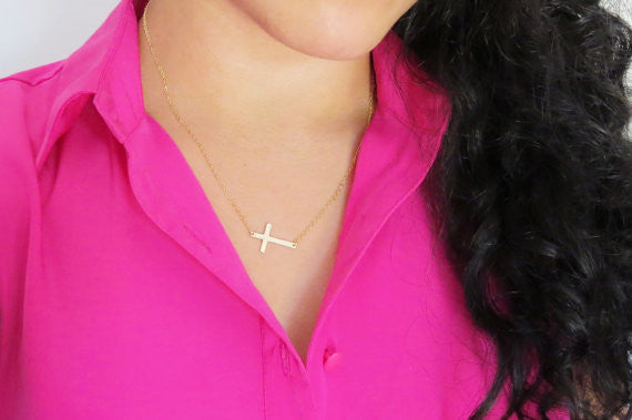 Large Sideways Cross Necklace / Sterling Silver / 14k Gold Fill / Centered / Offset