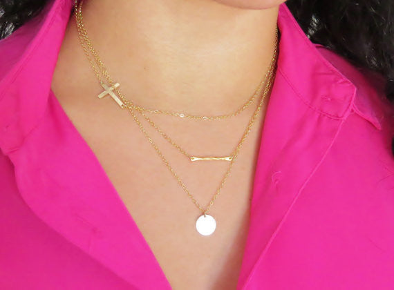 Large Sideways Cross Necklace / Gold Filled / Sterling Silver / Rose Gold Filled /