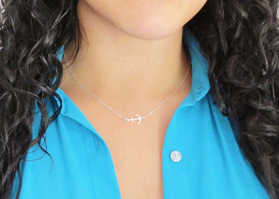 Sideways Anchor Necklace / Sterling Silver /