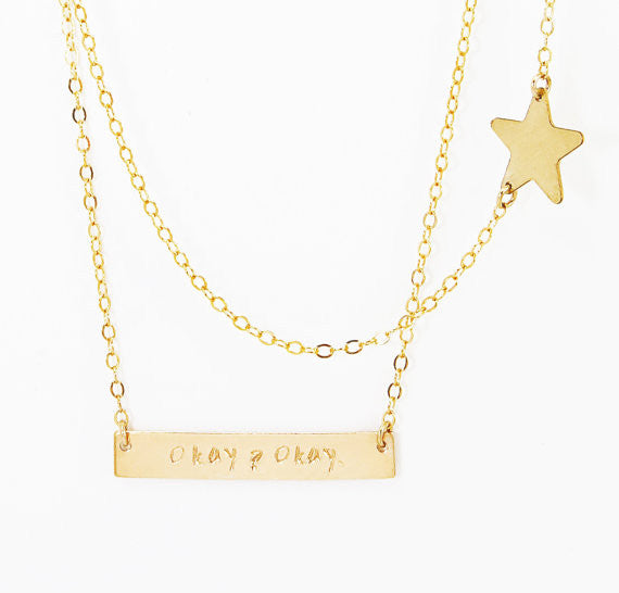 The Fault In Our Stars Okay Necklace / Gold / Silver / Rose Gold