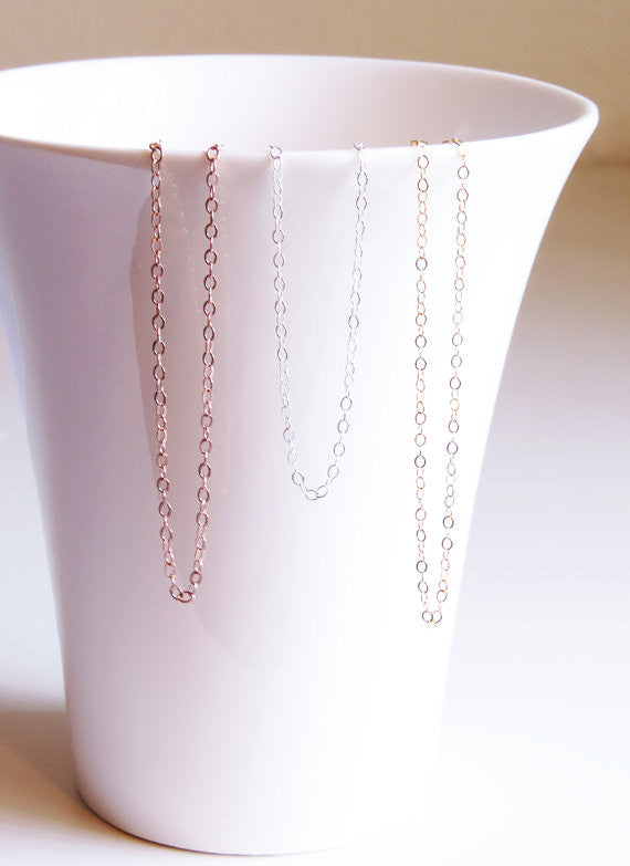 Plain Chain - Dainty Cable Link / Rose Gold / Gold / Silver /