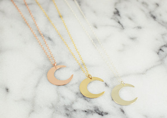 Crescent Moon Necklace / Silver / Gold / Rose Gold