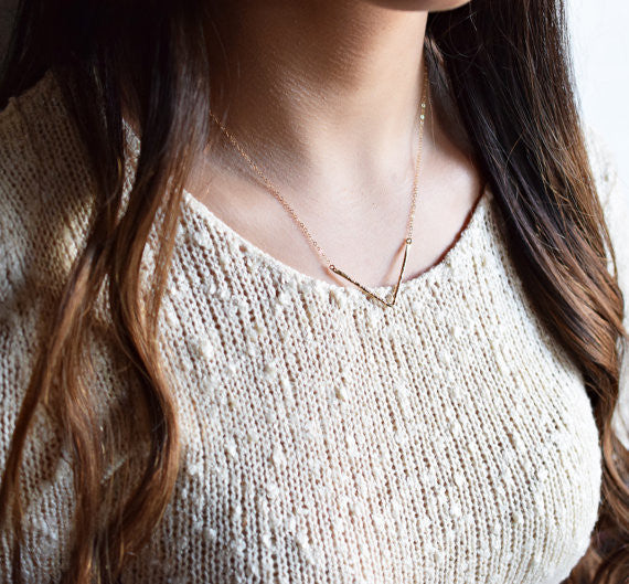 Hammered Chevron Necklace / Silver / Gold /