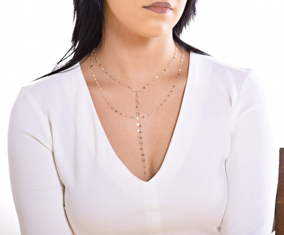 Double Strand Lariat Necklace / Sterling Silver / 14K Gold Fill / Rose Gold Fill