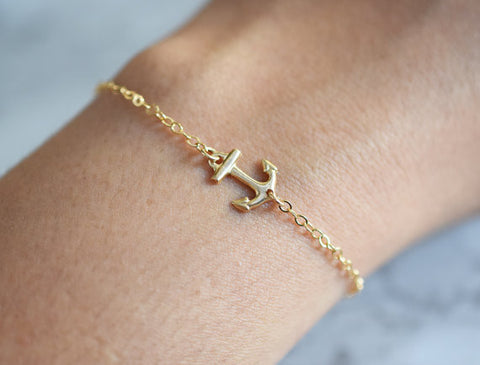 Sideways Anchor bracelet / 14k Gold Fill /
